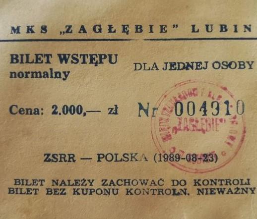 Bilet z meczu Polska - ZSRR 1:1 (23.08.1989)