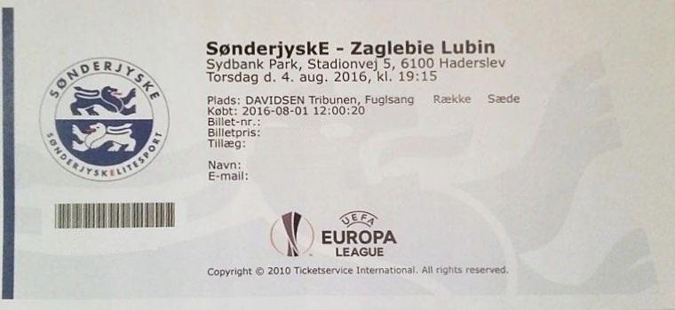 Bilet z meczu SønderjyskE - Zagłębie Lubin 1:1 (04.08.2016).