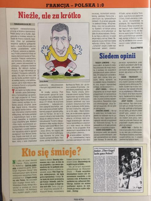 piłka nożna po meczu francja - polska (23.02.2000)