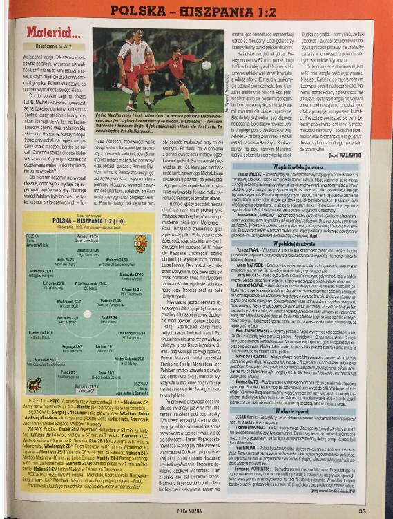 piłka nożna po meczu hiszpania - polska (18.08.1999)