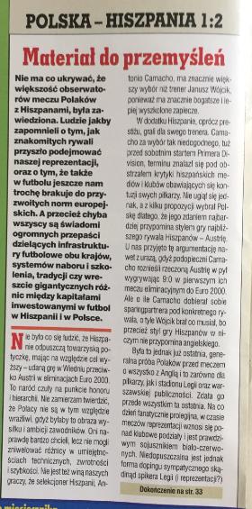 piłka nożna po meczu polska - hiszpania (18.08.1999)