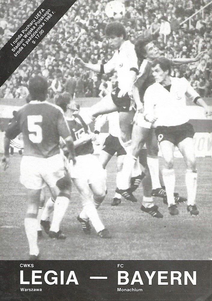Program meczowy Legia Warszawa - Bayern Monachium 3:7 (05.10.1988).