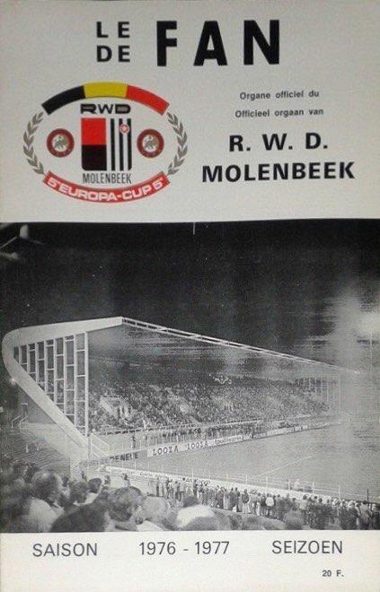 Program meczowy RWD Molenbeek - Wisła Kraków 1:1, k. 5-4 (03.11.1976)