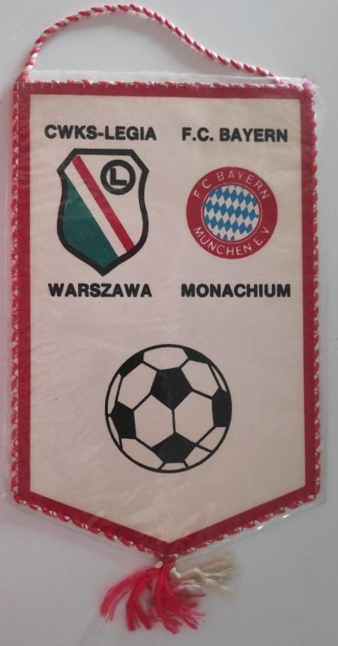 Proporczyk Legia Warszawa - Bayern Monachium 3:7 (05.10.1988).