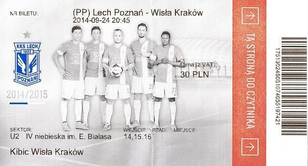 Bilet z meczu Lech Poznań - Wisła Kraków 2:0 (24.09.2014).