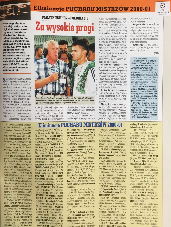 Piłka Nożna po Panathinaikos Ateny - Polonia Warszawa 2:1 (23.08.2000)