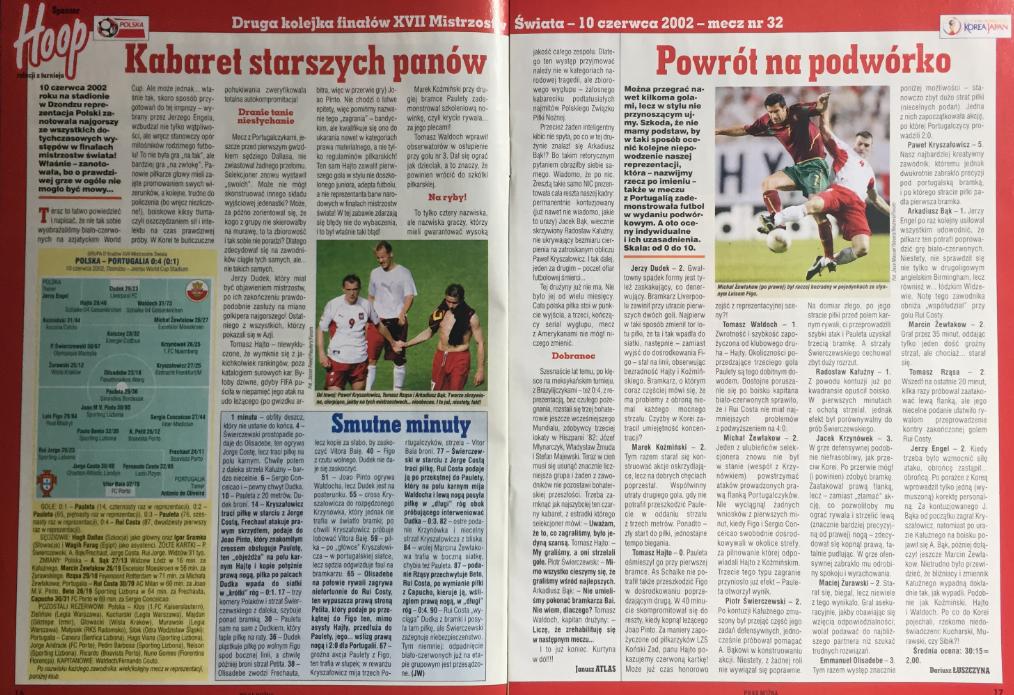 piłka nożna po meczu polska - portugalia (10.06.2002)