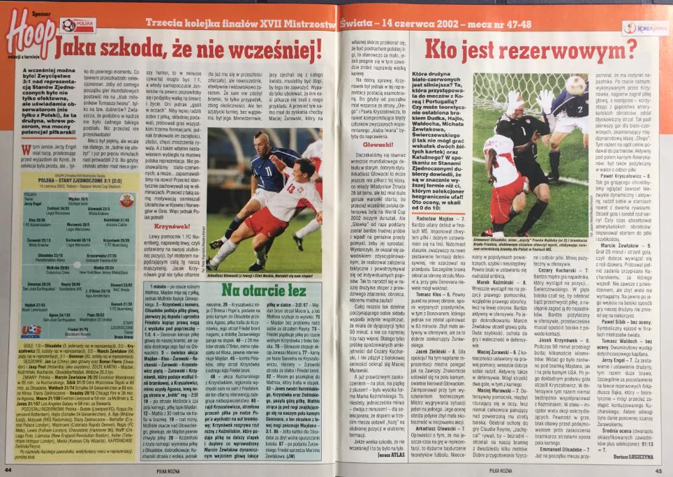 piłka nożna po meczu polska - usa (14.06.2002)