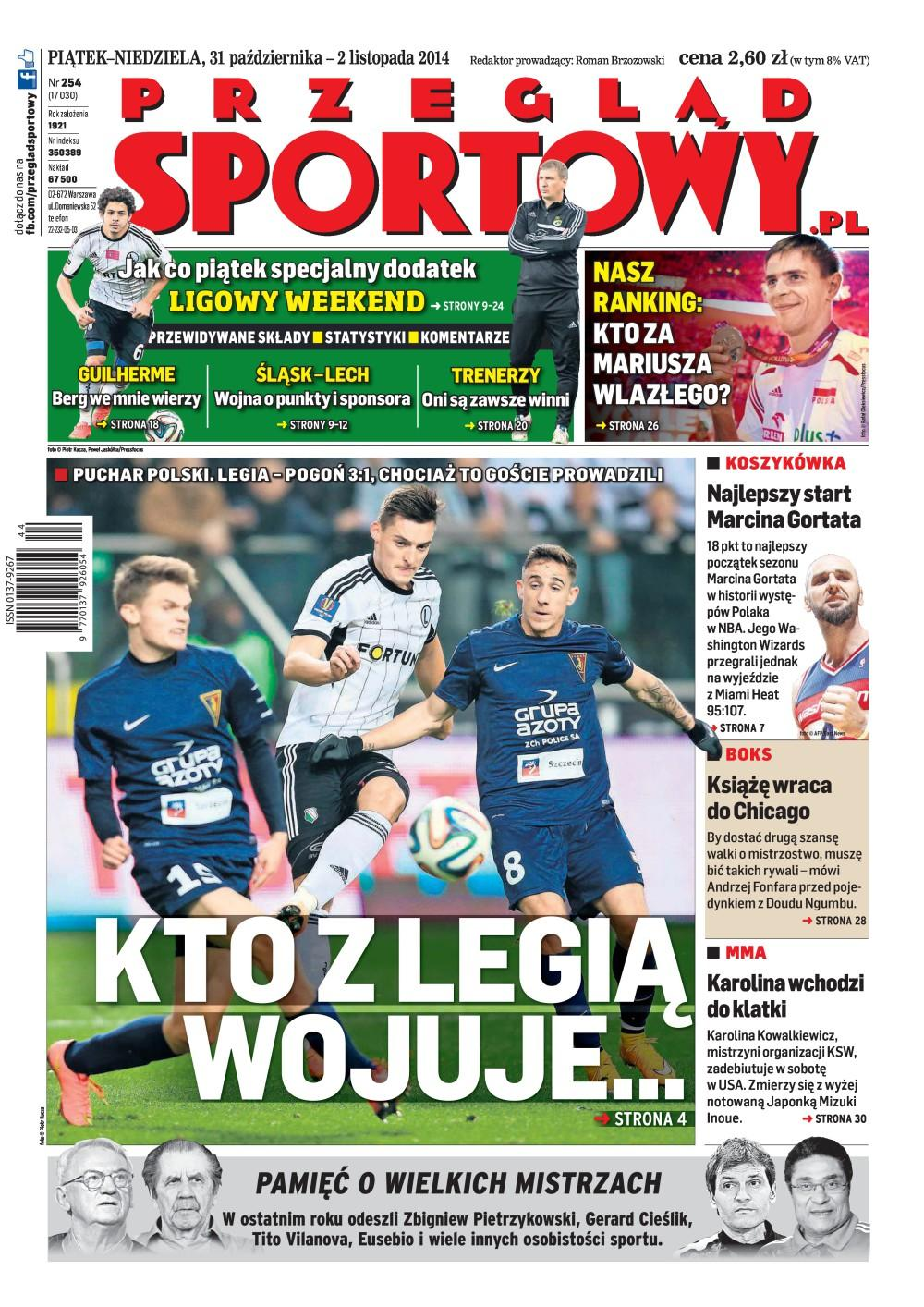 Okładka Przegląd Sportowy po meczu Legia Warszawa - Pogoń Szczecin 3:1 (30.10.2014).