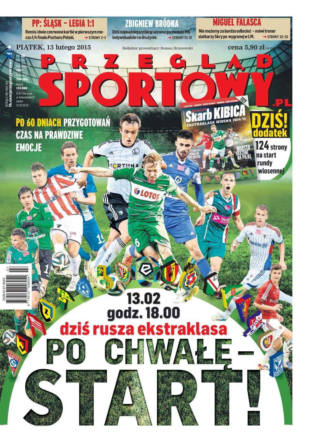 Okładka Przegląd Sportowy po meczu Śląsk Wrocław - Legia Warszawa 1:1 (12.02.2015).