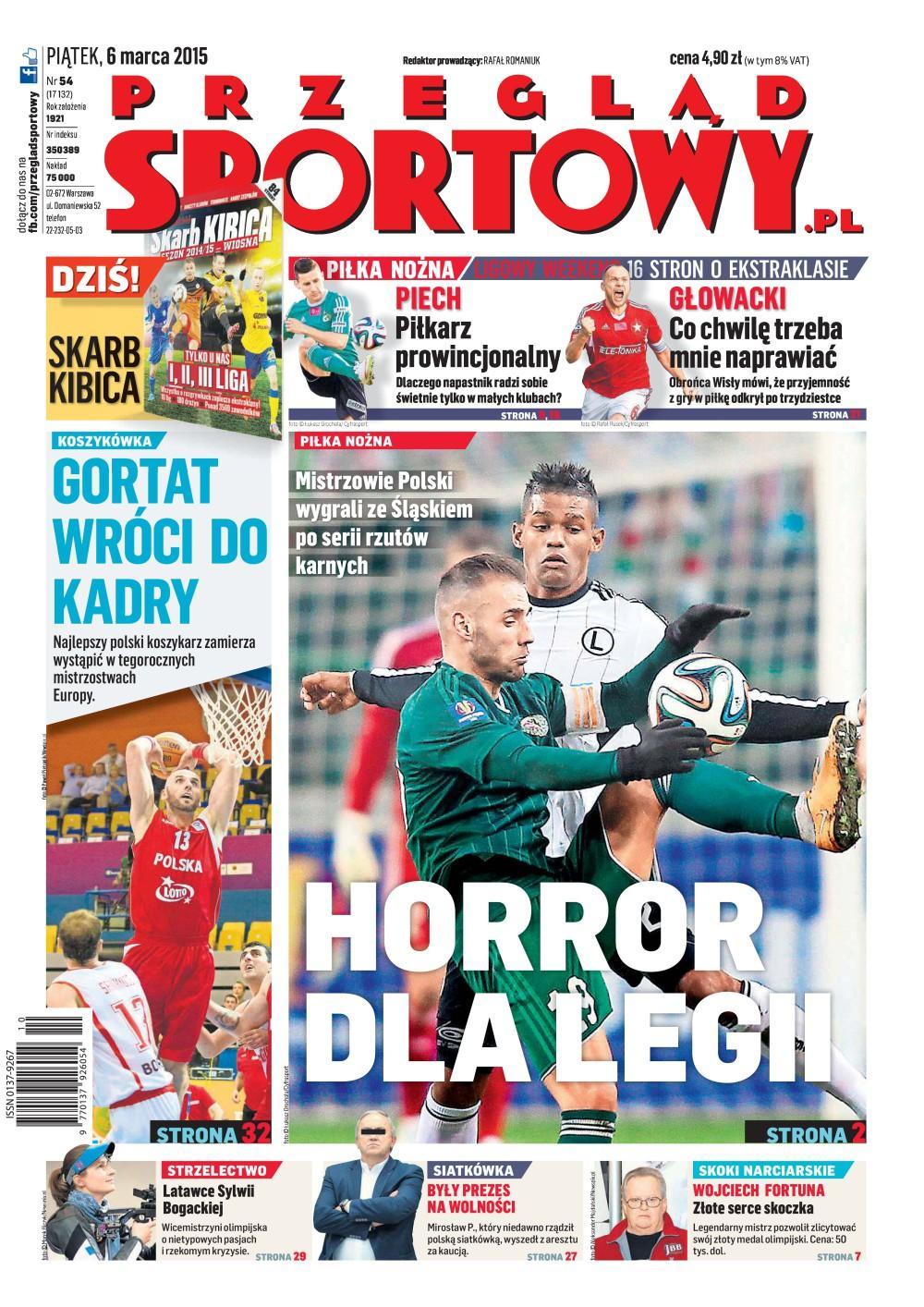 Okładka Przegląd Sportowy po meczu Legia Warszawa - Śląsk Wrocław 1:1, k. 3-1 (05.03.2015).