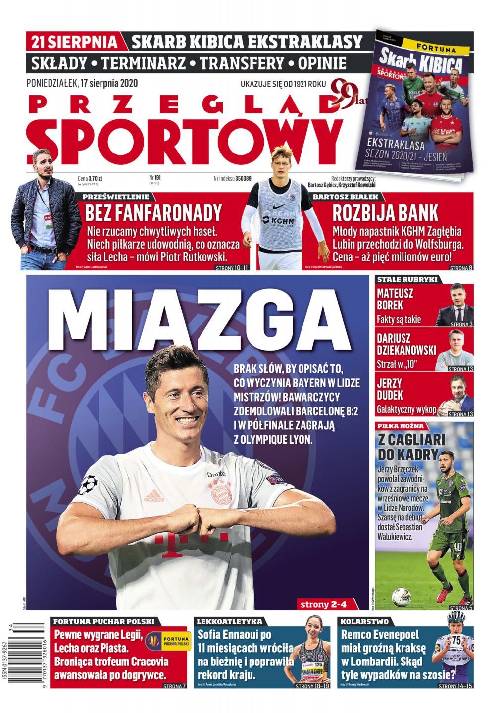 Okładka Przegląd Sportowy po meczu GKS Bełchatów - Legia Warszawa 1:6, 14.08.2020.