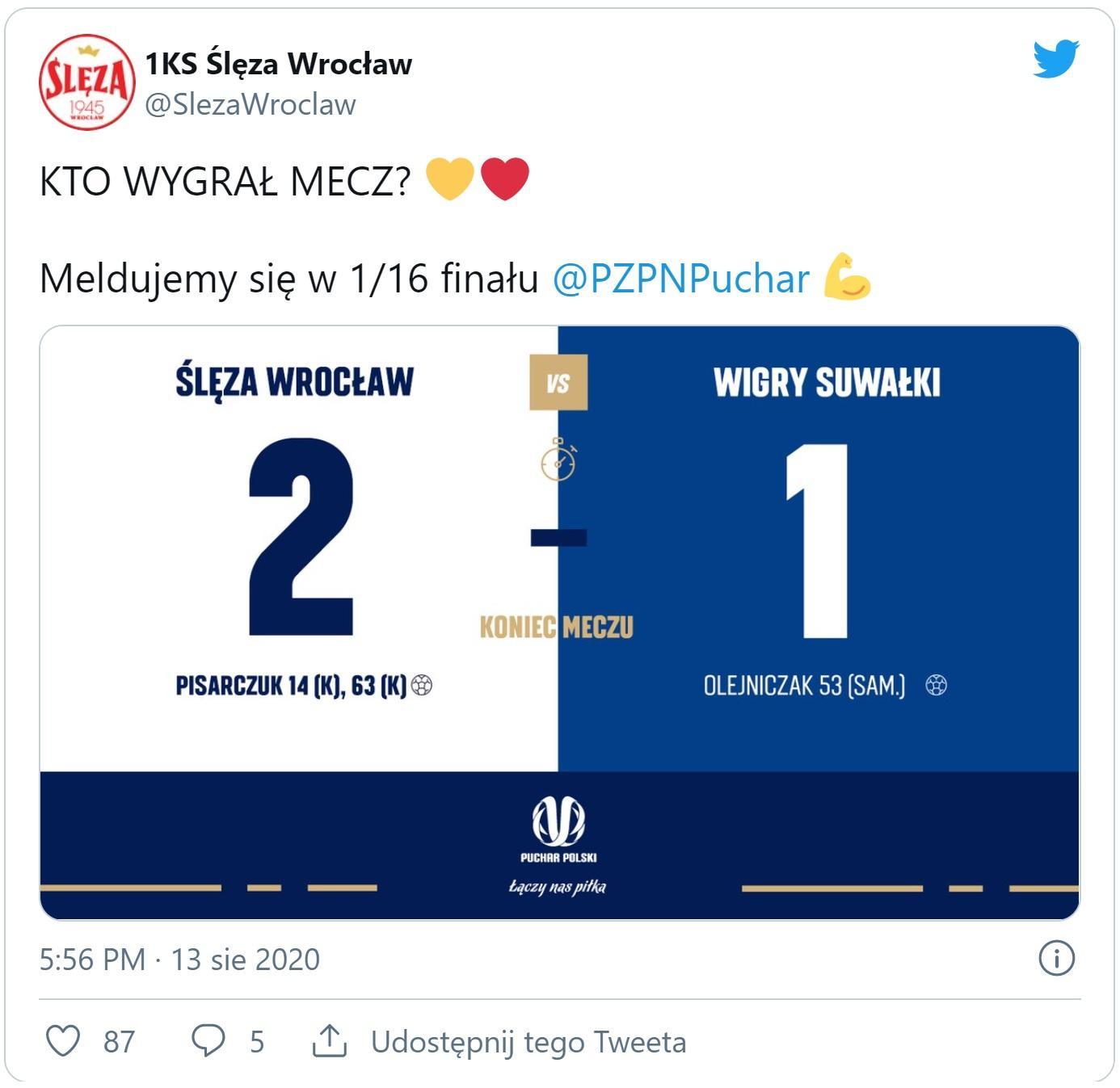 Ślęza Wrocław - Wigry Suwałki 2:1 (13.08.2020)