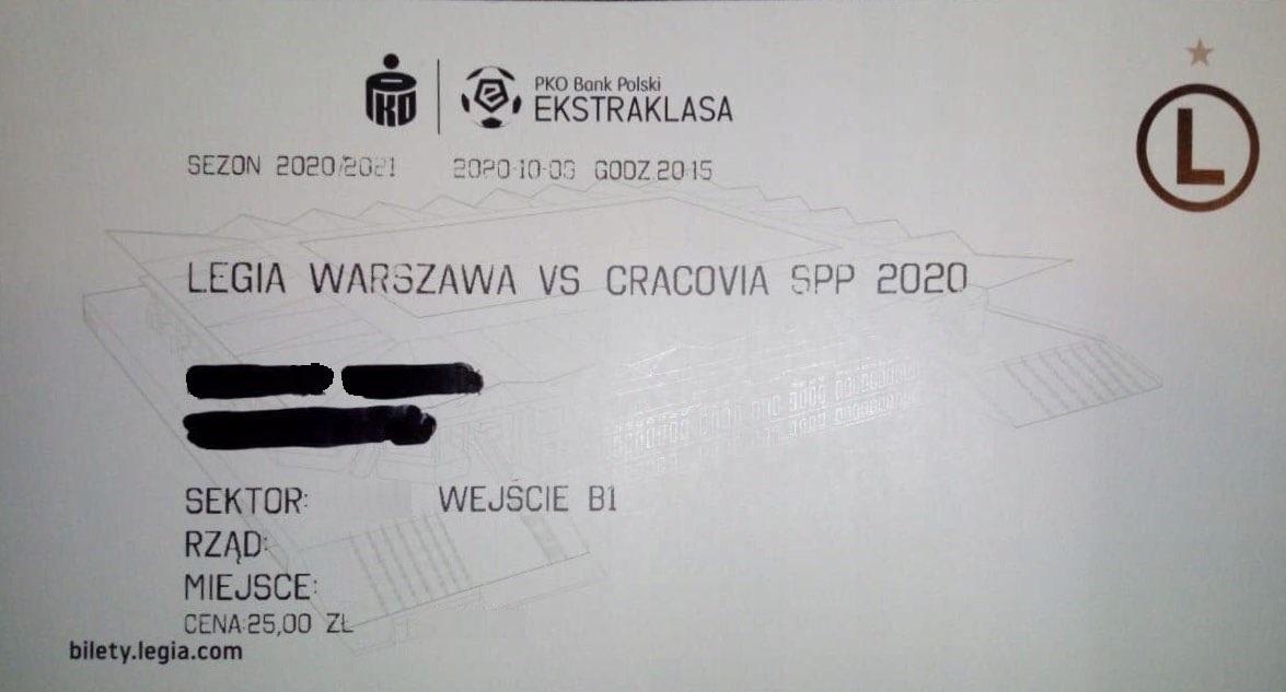 Bilet z meczu Legia Warszawa - Cracovia 0:0, k. 4-5 (09.10.2020).