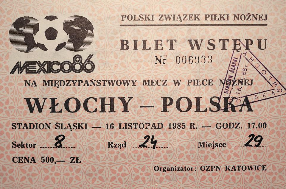 bilet z meczu polska - włochy (16.11.1985)