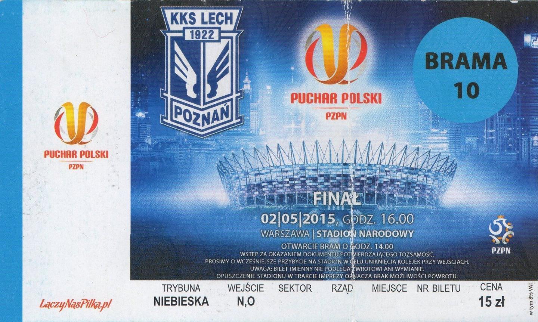 Bilet z meczu Lech Poznań - Legia Warszawa 1:2 (02.05.2015)