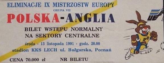 Bilet z meczu Polska - Anglia 1:1 (13.11.1991).