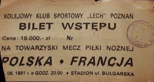 Bilet z meczu Polska - Francja 1:5 (14.08.1991)
