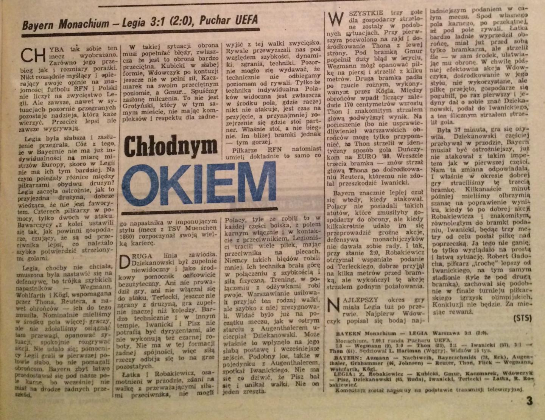 Piłka Nożna po meczu Bayern Monachium - Legia Warszawa 3:1 (07.09.1988).