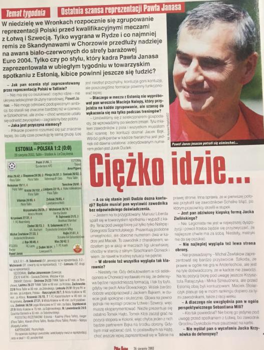 piłka nożna po meczu estonia - polska (20.08.2003)