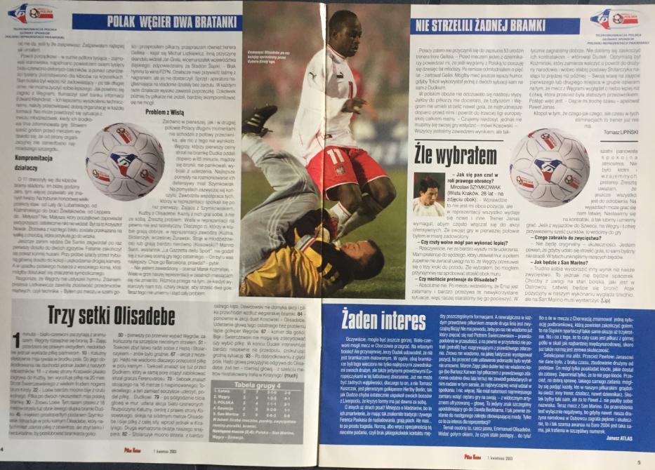 piłka nożna po meczu polska - węgry (29.03.2003)