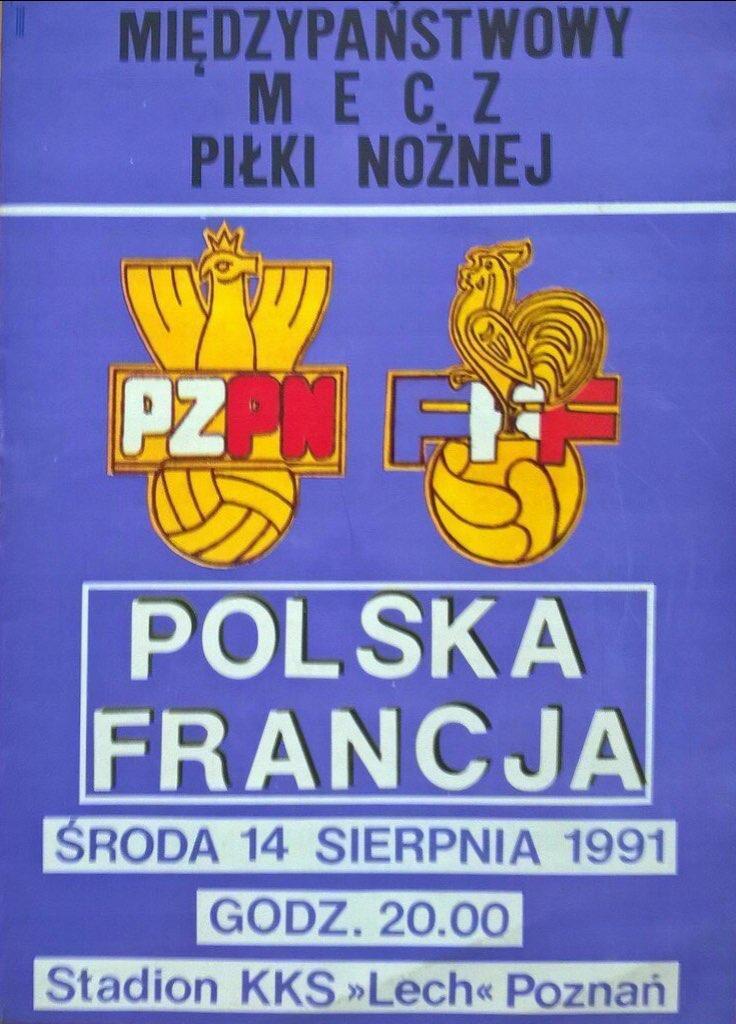 Program meczowy Polska - Francja 1:5 (14.08.1991)