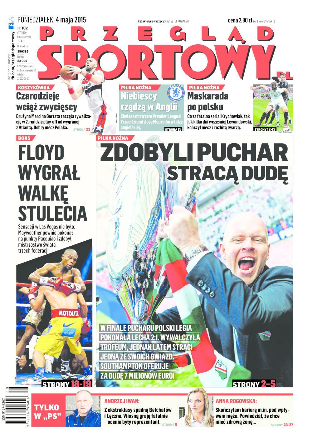 Okładka Przegląd Sportowy po meczu Lech Poznań - Legia Warszawa 1:2 (02.05.2015).