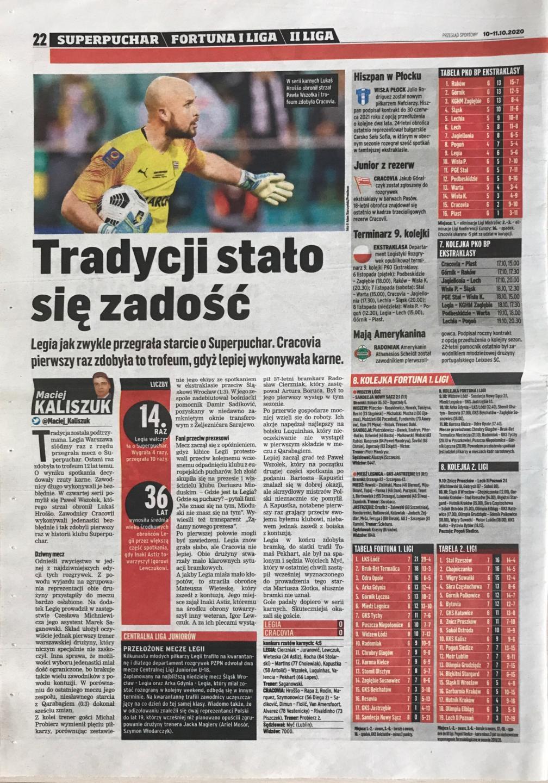 Przegląd Sportowy po meczu Legia Warszawa - Cracovia 0:0, k. 4-5 (09.10.2020)