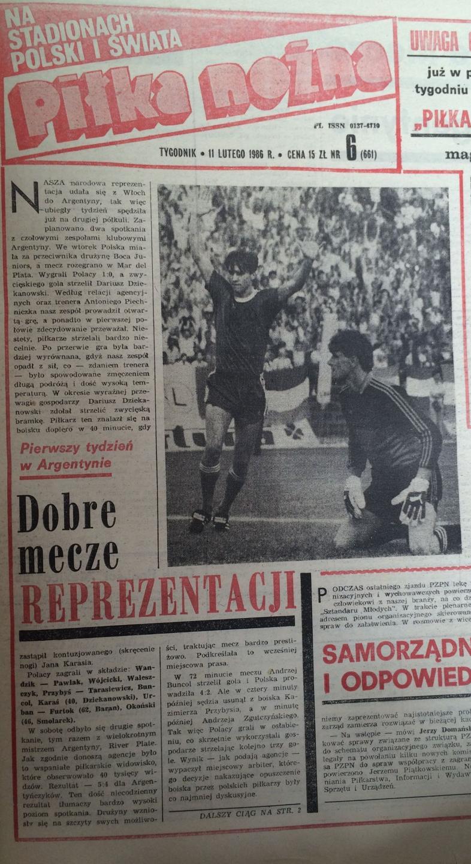 Piłka Nożna po River Plate Buenos Aires - Kadra PZPN 5:4 (08.02.1986) 1