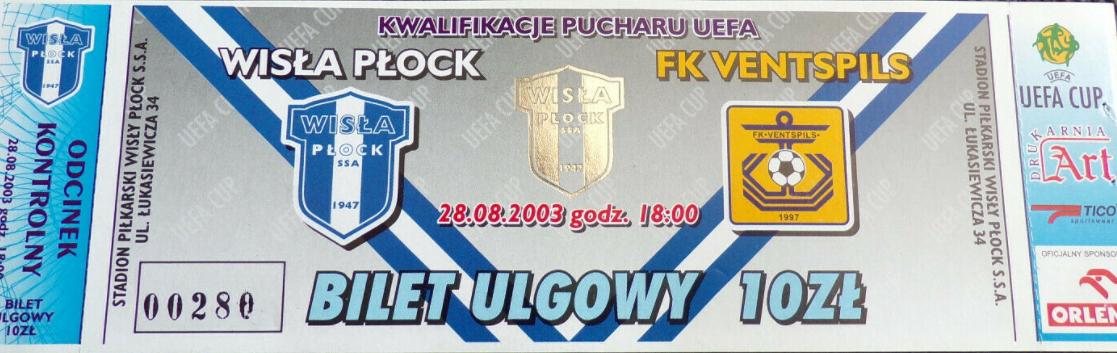 bilet z meczu wisła płock - venstpils (28.08.2003)