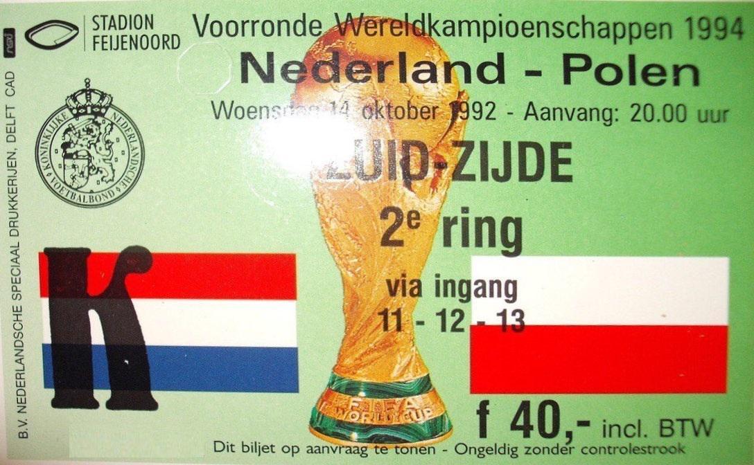 Bilet z meczu Holandia - Polska 2:2 (14.10.1992)