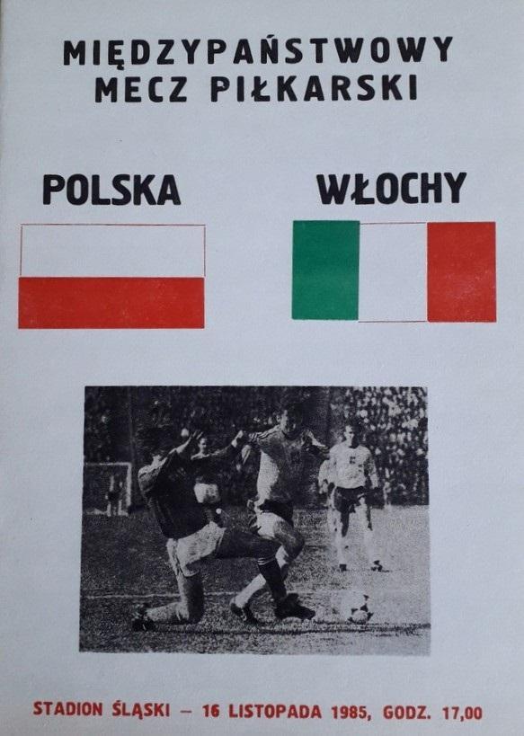 Program meczowy Polska - Włochy 1:0 (16.11.1985).