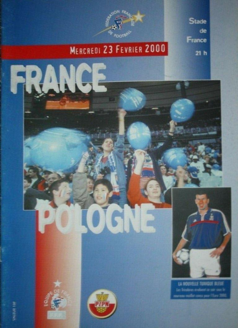 Program meczowy Francja - Polska 1:0 (23.02.2000).