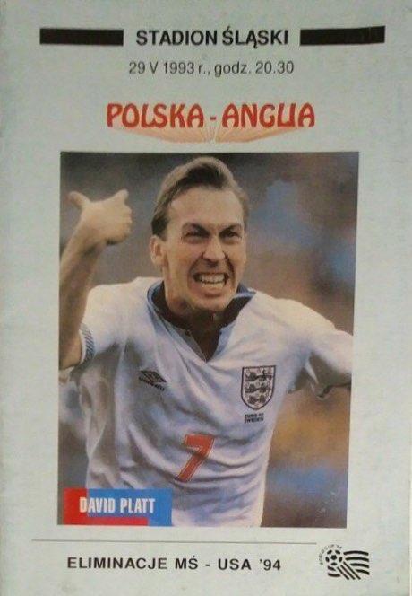 Program meczowy Polska - Anglia 1:1 (29.05.1993).
