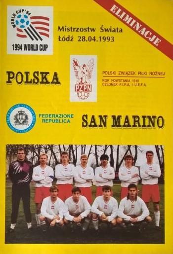 Program meczowy Polska - San Marino 1:0 (28.04.1993).