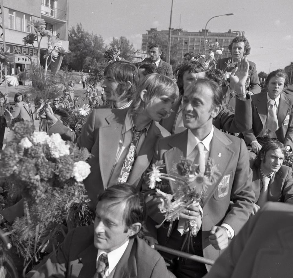 mistrzostwa świata 1974 - przywitanie Polaków w Warszawie
