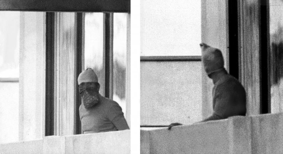 Palestyńscy terroryści w wiosce olimpijskiej w Monachium.