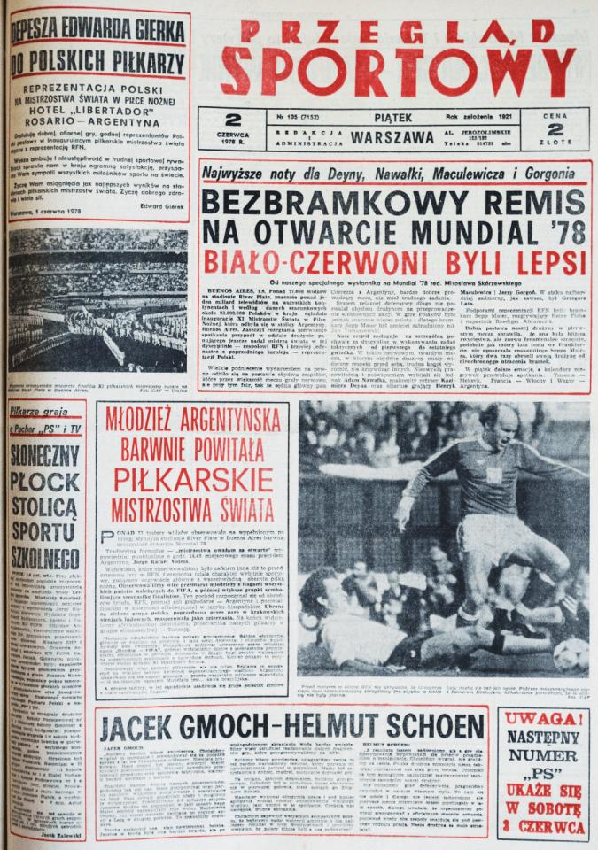 Okładka przeglądu sportowego po meczu Polska - RFN (01.06.1978)