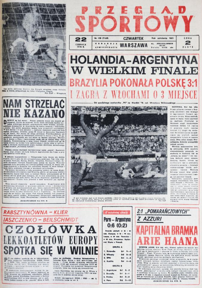 Okładka przeglądu sportowego po meczu Polska - Brazylia (21.06.1978)