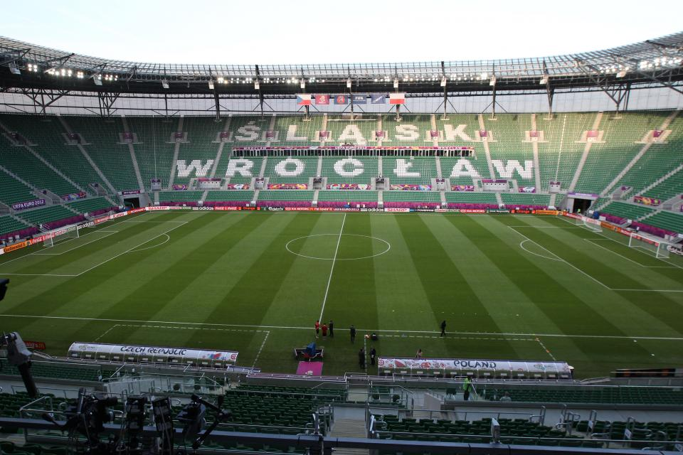 Panorama stadionu we Wrocławiu.