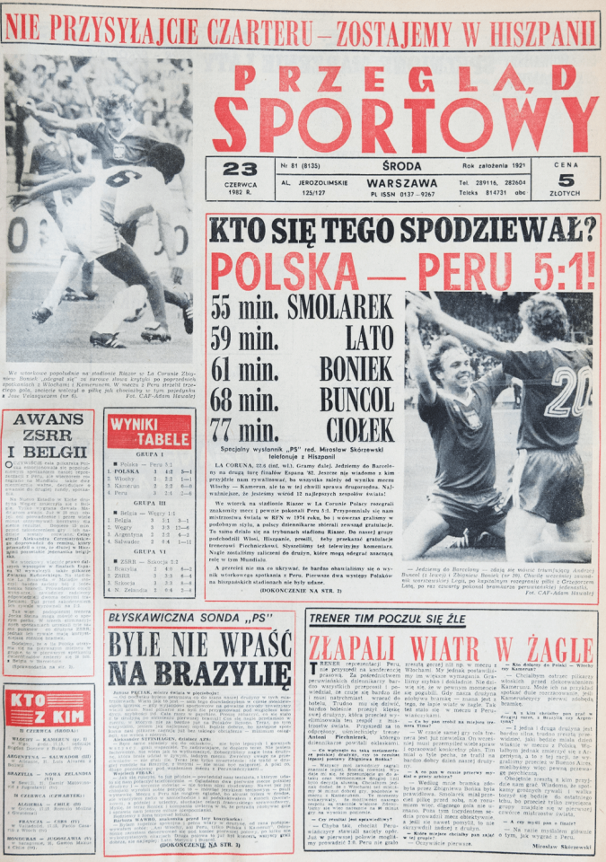 Okładka przeglądu sportowego po meczu Polska - Peru (22.06.1982)