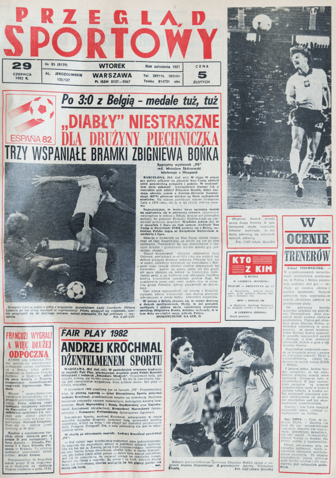 Okładka przeglądu sportowego po meczu Polska - Belgia (28.06.1982)