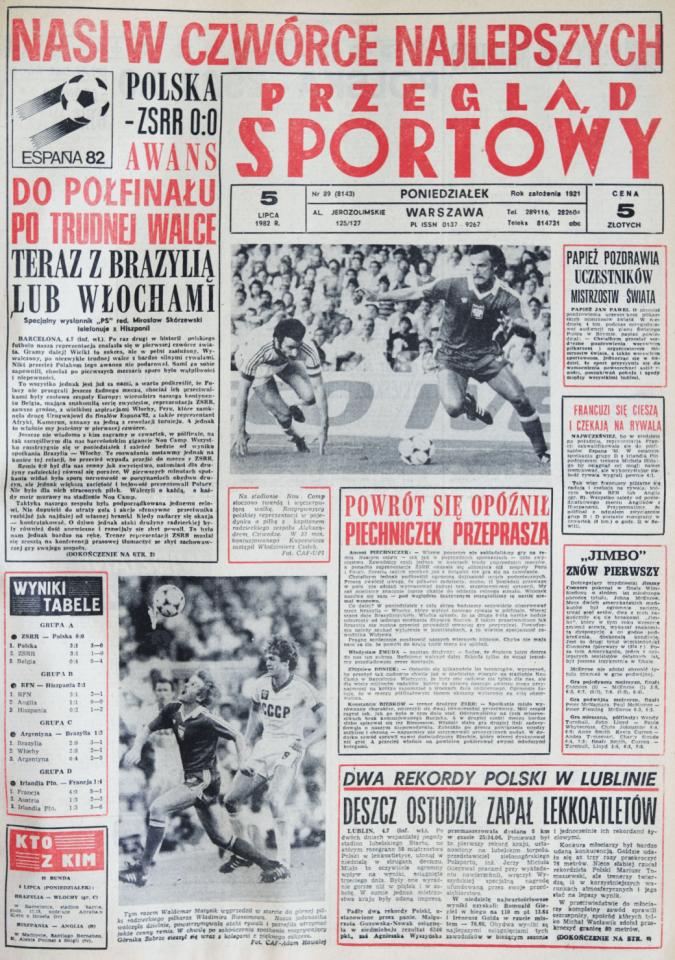 Okładka przeglądu sportowego po meczu Polska - ZSRR (04.07.1982)