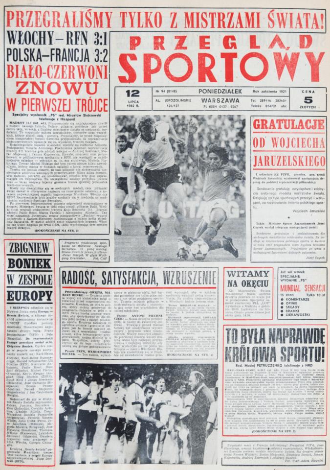 Okładka przeglądu sportowego po meczu Polska - Francja (10.07.1982)