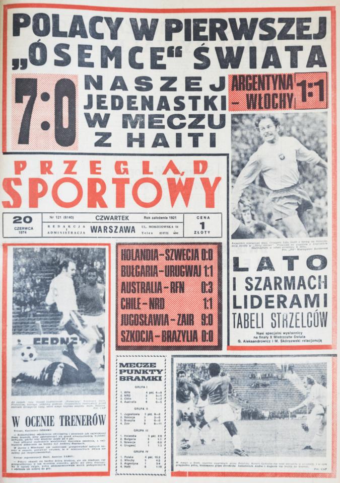 Przegląd Sportowy po meczu Polska - Haiti (19.06.1974)