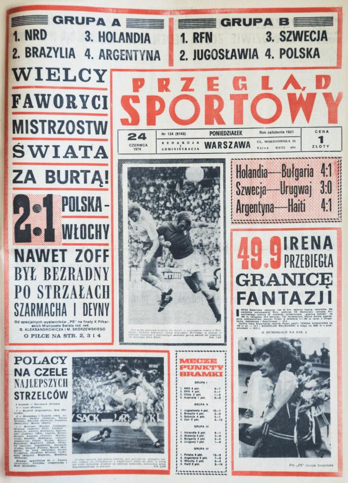 Pierwsza strona Przeglądu sportowego po meczu Polska - Włochy 2:1 z mistrzostw świata 1974.