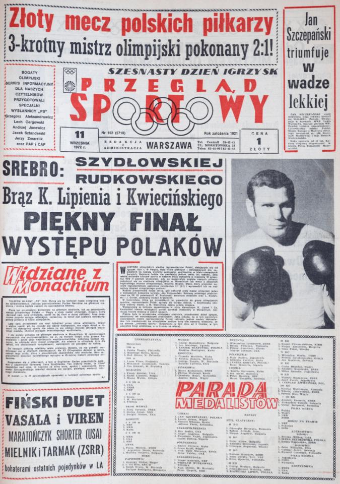 Przegląd Sportowy po meczu Polska -Węgry (10.09.1972)
