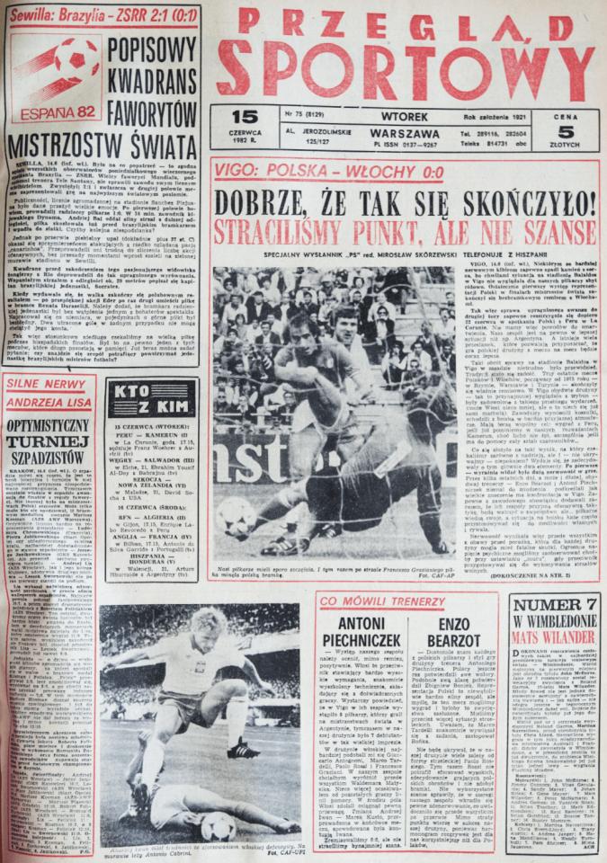Okładka przeglądu sportowego po meczu Polska - Włochy (14.06.1982)
