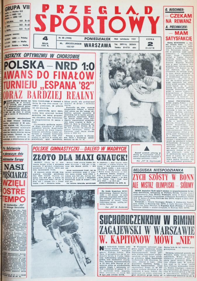 Przegląd Sportowy po meczu Polska - NRD (02.05.1981)
