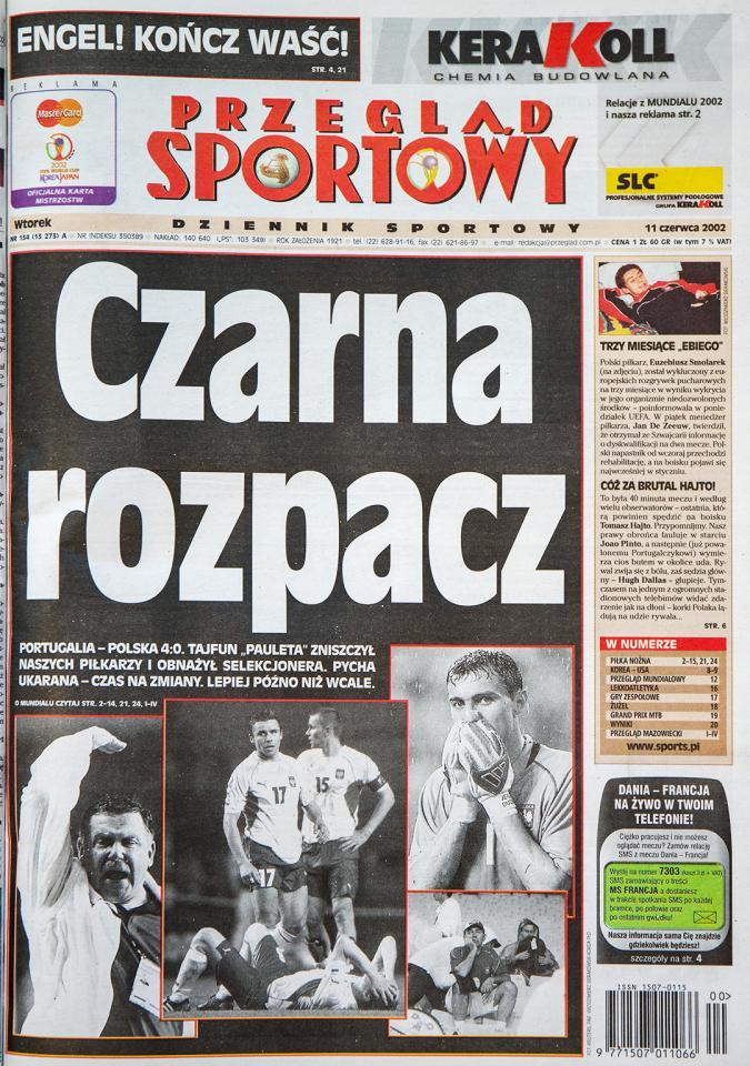 Okładka przeglądu Sportowego po meczu Polska - Portugalia (10 czerwca 2002)
